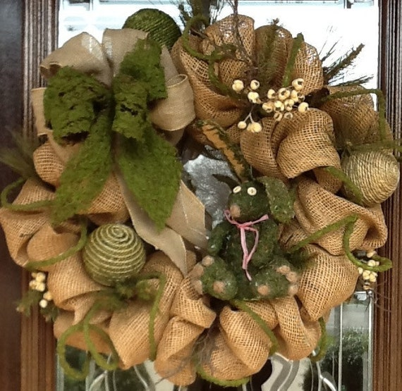 Burlap and moss spring wreath Burlap xmas wreath