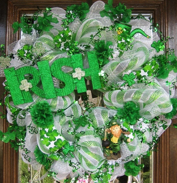 deco mesh st patrick 39 s day wreath. Black Bedroom Furniture Sets. Home Design Ideas