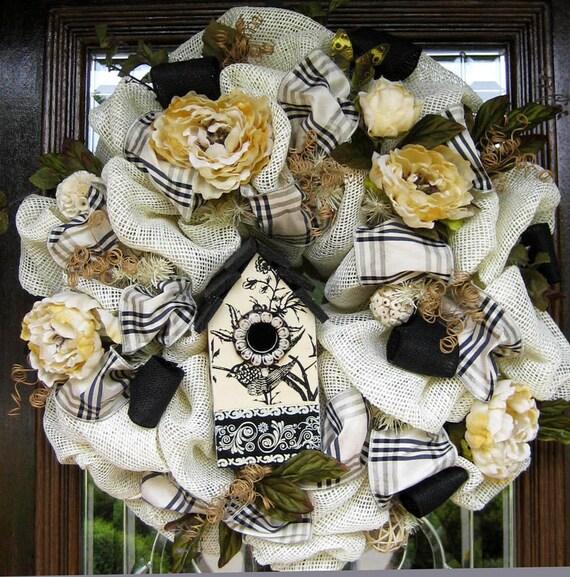 Deco Mesh Burlap BLACK and CREAM BIRDHOUSE Wreath, Spring Wreath, Mother's Day Wreath