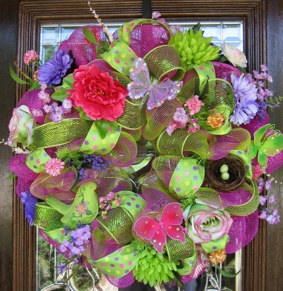 Deco Mesh BUTTERFLIES, BIRD and FLOWERS Wreath