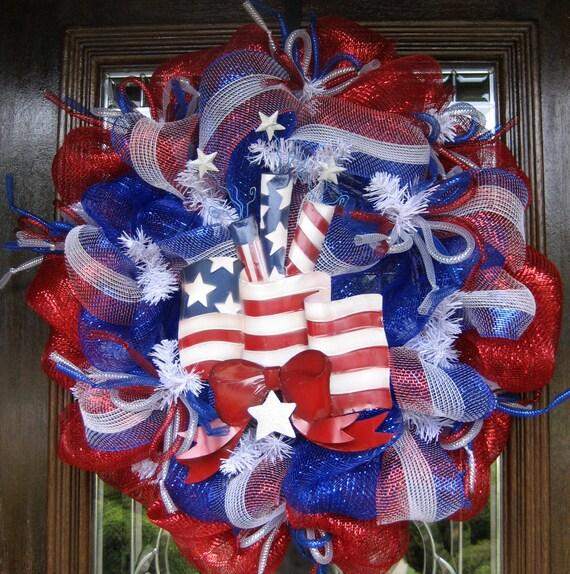 Deco Mesh AMERICAN FLAG PATRIOTIC Wreath