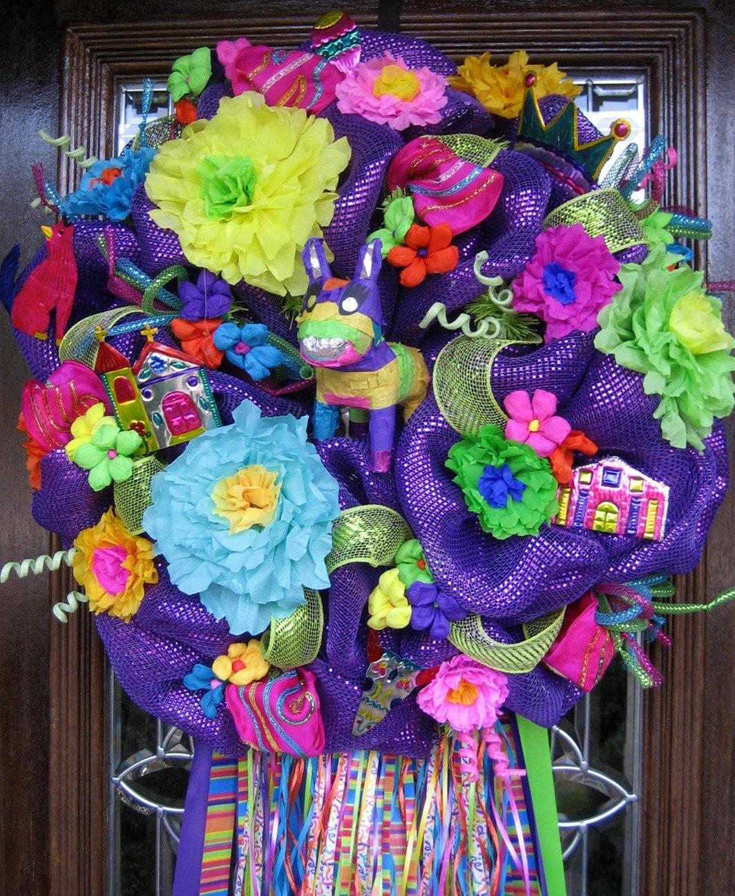 Deco mesh purple fiesta wreath for Deco decorations