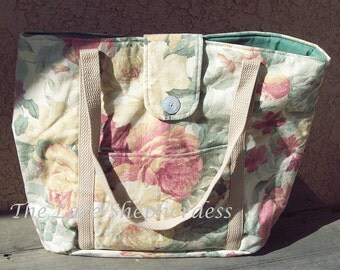 Knitters bag or weekend tote. Handsewn  Floral  collection  no.8