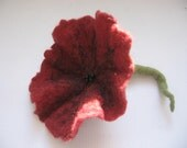 Wool felted flower / hair / wool / hand felted / red / burgundy