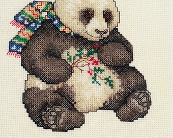 Cross Stitch Panda Bear with Holly