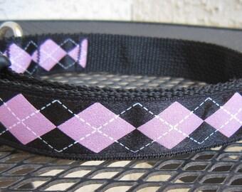 Pink Sparkle Argyle Adjustable Designer Dog Collar