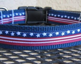 Celebrate Independence American Flag Adjustable Designer Dog Collar