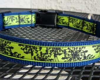 Lime and Navy Designer Collar Adjustable