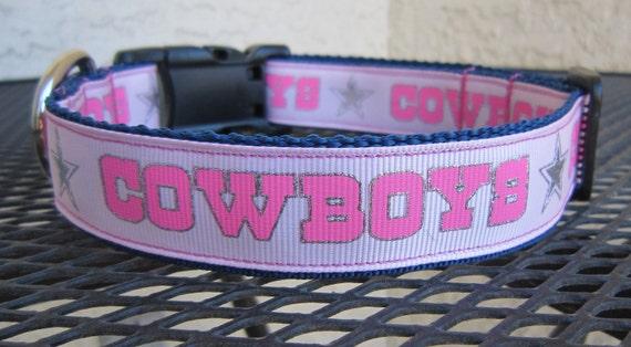 Dog Collar with Pink Dallas Cowboys Football Ribbon and Silver Stars