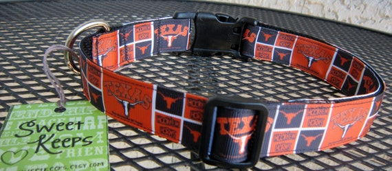 Dog Collar Made from UT Longhorn Hook 'em Inspired Ribbon