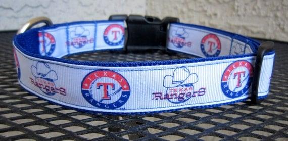 Dog Collar Made from Texas Rangers Baseball Inspired Ribbon Blue & White