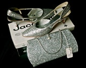 Wedding Heels & Clutch Purse Handbag 1960s : Sparkly Silver Glitter Evening Party Set - ORIGINAL Box and Tag (Gift for Her)