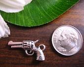 5 Antique Silver Color Gun Pistol Decorative Charm Bead Miniature 3D Kawaii Cute