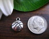 5 Antique Silver Color Basketball Basket Ball Sport Decorative Charm Bead Miniature 3D Kawaii Cute