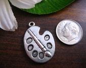 5 Antique Silver Color Artist Painter Palette Brush Paint Decorative Charm Bead Miniature 3D Kawaii Cute