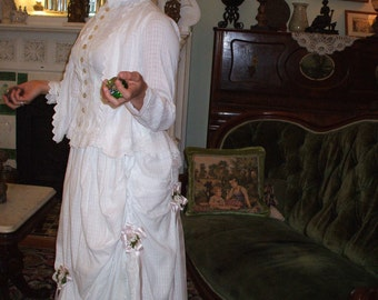 Authentic 1880 Cotton BUSTLE WEDDING GOWN
