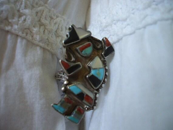 SALE ZUNI Turquoise RAINBOW Man Channel Iinlay Mosaic Ring