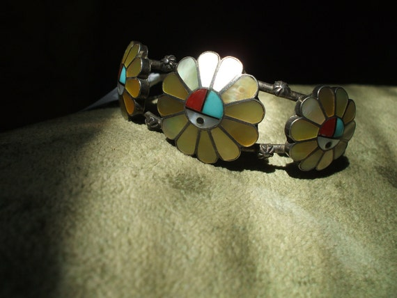 REDUCED SIGNED Zuni Gold Mother of Pearl Inlay Sunface CUFF Bracelet