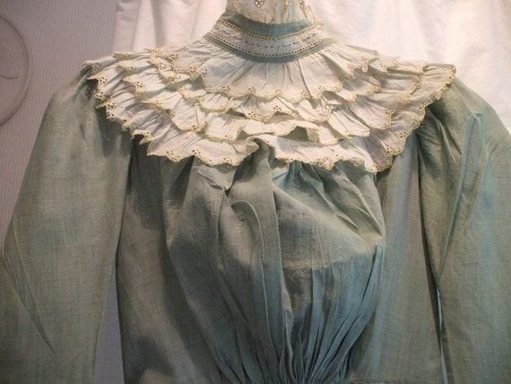 REDUCED 1890s VICTORIAN Chambray DRESS Embroidered Eyelet Trim