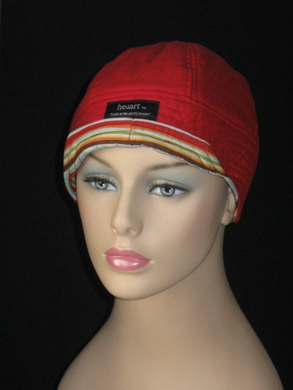 Hair Loss Hat or Simply For Style /Brilliant Red with Fun Stripe F74C6S23.1 Small-Medium