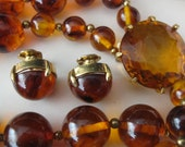 Demi-Parure, Amber, Marbled, Glass Beads with Large Cut Glass Clasp, c.1940s