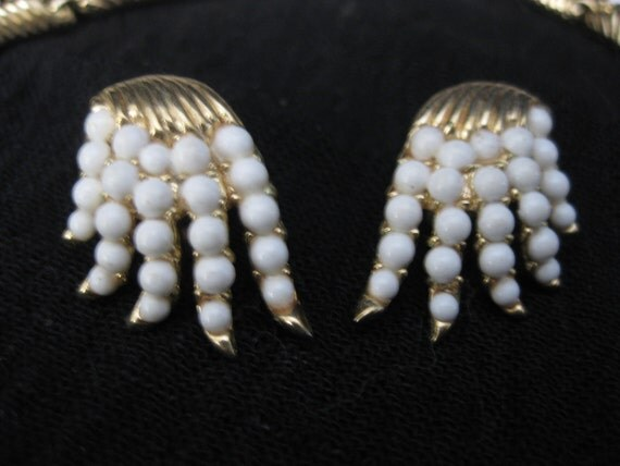 Trifari, Parure, Gold Plate, Faux Seed Pearls, Reserved for ELENA