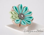 RESERVED!!! (for N) 50% OFF SALE - Flower Brooch, Blue, Beige and Green, Kanzashi Jewelry