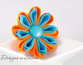RESERVED!!! (for N) 50% OFF SALE - Floral Hair Fascinator, Orange and Blue Hair Clip, Brooch