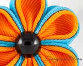 Kanzashi Flower Hair Clip, Orange and Blue - FREE SHIPPING