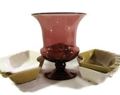 Purple Glass Vase // Eggplant Purple // Flower Frog Insert // Bouquet Vase