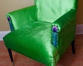 """Green Velvet Lounge chair with Black Legs """"Poison Peacock"""""""