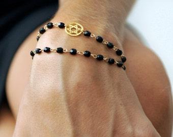 Double Wrap Rosary Style Beaded Bracelet