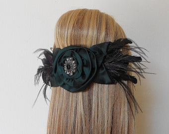 Bridal Hair bow-Black/Green Flower Crystal -Black Hair Bow- Green Hair Bow-Coque Feathers-Peacock-Ostrich Feathers