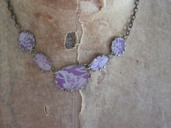 "Paper Jewelry Necklace:  ""Moody Purple"" Paper for the One Year Anniversary FREE USA SHIPPING"