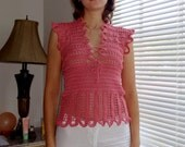 "Crochet cotton Shirt (Top)  ""Flamingo"". Bust - 33"". Brand-New. Ready to ship"