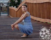 Tiers Crochet dress. Sleeveless. For Anniversary, Party, Birthday, Dancing Latino. New style. Made to order. Custom made