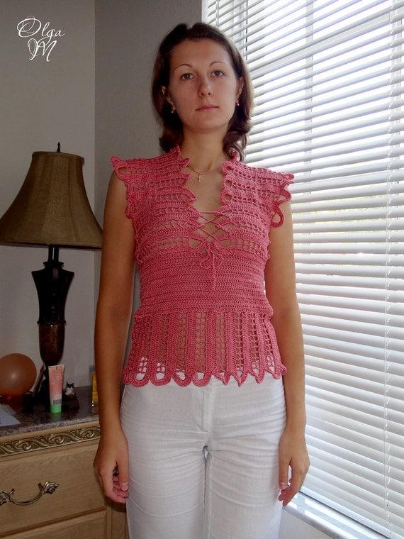 "Crochet cotton Shirt (Top)  ""Flamingo"". Bust - 33"". Brand-New. Ready to ship"