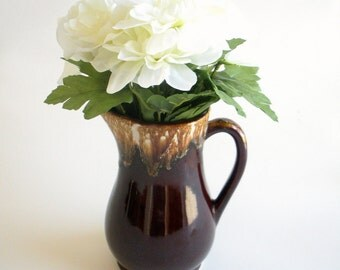 Brown Drip Pitcher - Vintage R.R.P. Ransbottom Pottery Vase - Roseville, OH