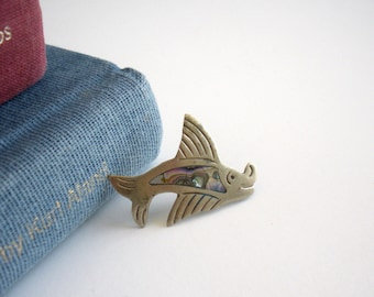 Abalone Fish Pin - Vintage Fish Brooch with Abalone Center - Happy Swordfish