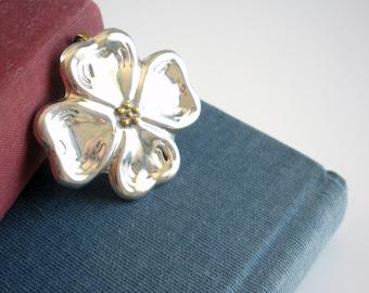 Sterling Silver Dogwood Pendant Brooch/Pin -