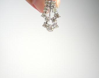 Vintage Rhinestone Earrings - Screw-On - Clear Rhinestone Earrings