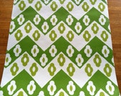 Vintage 1960s wallpaper- Green ZIGZAG- by the yard