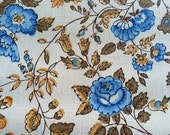 Vintage Wallpaper-1960s Elegant Blue Roses- by the Yard