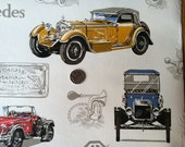 Vintage Wallpaper- Collectible Antique Cars Novelty Paper- by the yard