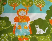Vintage 1960s Wallpaper- Cute Danish Girl and Kitty in the Country
