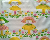 Vintage 1970s Wallpaper- Sweet Retro Girls with Picnic Baskets- by the yard