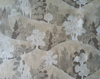 Vintage Wallpaper-1970s vinyl dream landscape with trees- by the yard