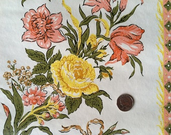 Lovely Vintage Wallpaper- Yellow and Peach Floral- by the yard