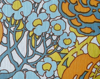 Vintage 1970s Wallpaper- Groovy Retro Vinyl Floral- by the yard