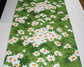 1970s Vintage Wallpaper-trippy daisies- by the yard